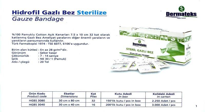 DERMATEKS GAZLI BEZLER 30X80
