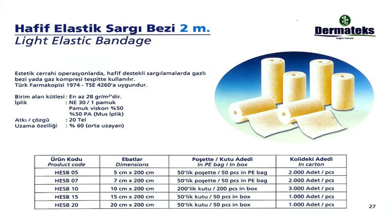 DERMATEKS ELASTİK SARGI BEZİ 2MT